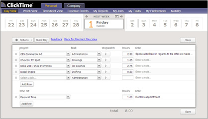 Entering time for an entire week is easy with our streamlined Week View interface